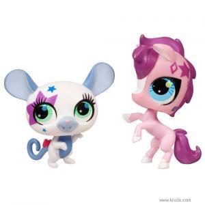 Фото Розовая лошадка и белая мышка - зверюшки Литл Пет Шоп